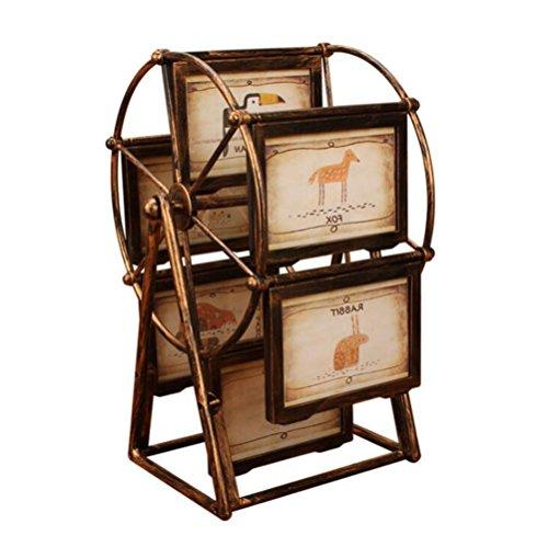 XNKPOF Ferris Wheel Bronze Bilderrahmen 5-Zoll-Bilderrahmen Album Shabby Chic Stil Sehr reich Verzierten antiken Multi Bilderrahmen Set Hochzeit Persönlichkeit Swing-Tabelle, Bronze -