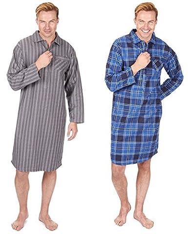 2er Packung Mens, Die Traditionelle Gebürstet Flanell Baumwolle Gestreift Nachthemd Schlafanzug - marineblau Karomuster/grau Streifen, Large
