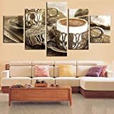 ZSYNB 5 Leinwandbilder Wohnkultur Leinwand Gemälde 5 Stücke Zarte Kaffeetasse Poster Wohnzimmer Küche Bilder HD Drucke Restaurant Wandkunst