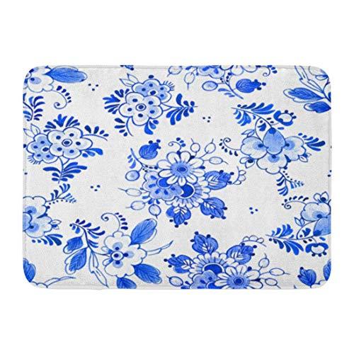 Sheho Rutschfeste Fußmatten Aquarell Muster Delft Blau Aquarell Traditionelle holländische Blumensträuße mit Blumen Kobalt Durable Home Decor Mat 23,6 x 15,7 Zoll