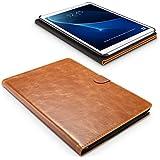Funda Samsung Galaxy Tab A 10.1, SLEO Carcasa Piel PU Suave de Negocio Profesional Billetera Soporte Plegable Flip Case del Tirón para Samsung Galaxy Tab A 10.1 - Marrón
