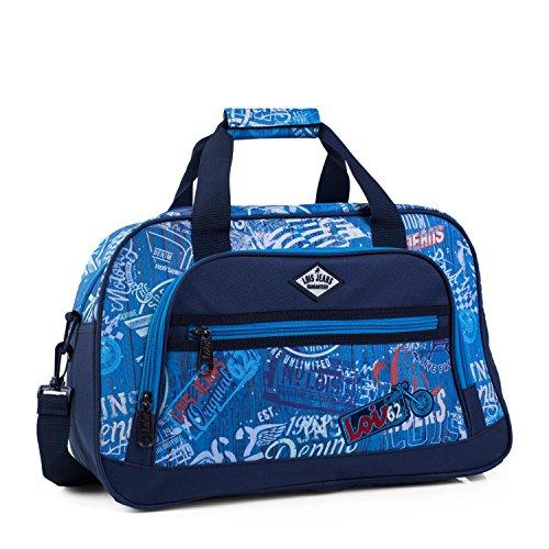 LOIS - 54245 Bolsa infantil de Poliéster. Con doble asa y bandolera ajustable. Multifuncional: viaje, deporte, gimnasio, colegio, etc, Color Azul