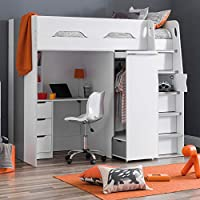 High Sleeper Storage Bed, Happy Beds Pegasus Wood Modern Desk Wardrobe Drawers Cupboards Loft Bunk