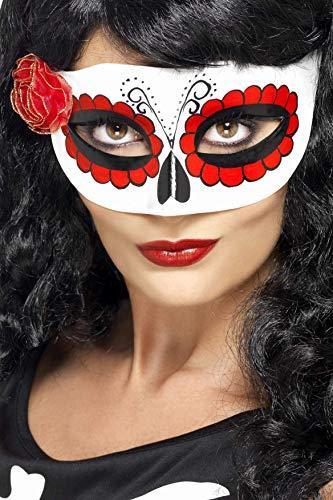 Smiffys Damen Augenmaske Mexikanischer Tag der Toten, One Size, Weiß und Rot, 27854