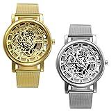 Herren Mechanische Uhren mit Gravur Geschenke Klassisches Skelett Mesh Edelstahl Armbanduhr, Business Casual Mechanik Uhr mit Milanese Armband, Gold silber(2pcs)