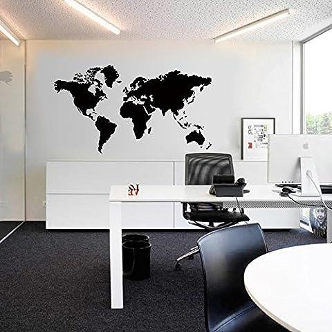 zooarts Big Nero Mappa del mondo adesivi da parete rimovibile Art Home Decor decalcomanie in vinile murale stanza