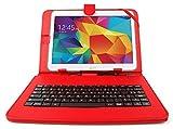 DURAGADGET Etui Rouge + Clavier intégré AZERTY pour Samsung Galaxy Tab 4...