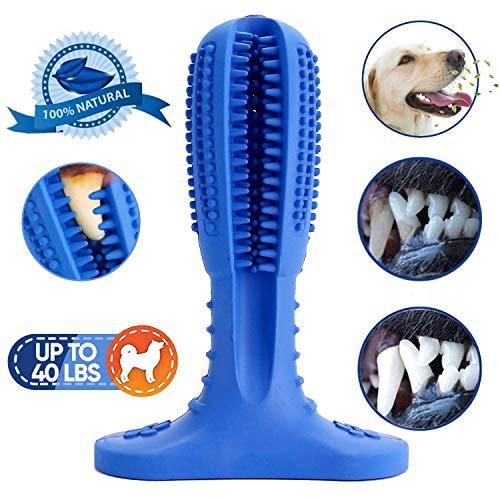 NUFOKG - Spazzolino da Denti per Cani, in Gomma Resistente, con setole per la Pulizia Dentale, per Cani di Taglia Piccola, Media e Grande, Colore: Blu