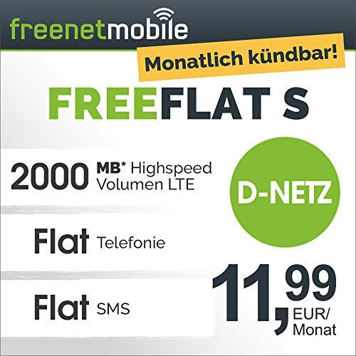 freenetmobile freeFLAT S im D-Netz monatlich kündbar (2 GB LTE Internet-Flat max. 21 MBit/s, Telefon- und SMS-Flat in alle dt. Netze, EU-Roaming, 11,99 EUR/Monat, 25 EUR Rufnummernmitnahme-Bonus)