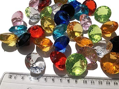 CRYSTAL KING 36 Stück 30mm große Bunte Deko-Diamanten Brillianten Strasssteine Acryl-Steine bunt transparent klar Gltzersteine Schmuck-Steine Strass-Steine Streu-Deko Tisch-Deko