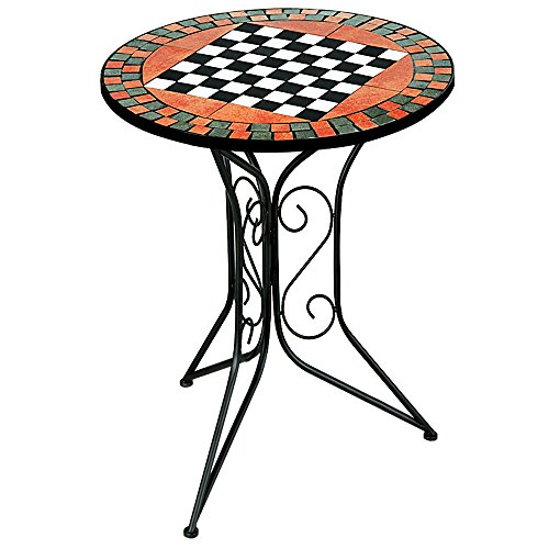 Luxury chess mosaic table with metal foot - Garden table balcony - Foldable side table