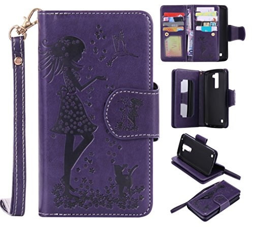 LG K8 Case Leather [Cash and 9 Card Slots], Cozy Hut Elegant Woman and cat Patterned Embossing PU Leather Stand Function Protective Cases Covers with Card Slot Holder Wallet Book Design Fordable Strap Case for LG K8 5.0 Inch - purple