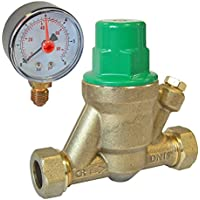 15mm Adjustable Pressure Reducing Valve Including Gauge 1-6 Bar Reliance Water Controls