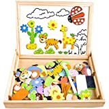 Wooden Kids Toy Magnetic Board Puzzle Games, Cooljoy Double Face Jigsaw& Drawing Easel Chalkboard Educational Learning Toys for Kids 3 4 5 Years Old (Number Pattern)