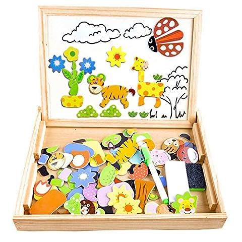Puzzles Enfant en Bois Magnétique, COOLJOY Jigsaw avec Tableau Noir de Chevalet à Double Face Jouets Educatif pour Bambin Enfants Fille 3 Ans 4 Ans 5 Ans - 100 Pièces (Animaux) - Puzzle Aimant peut Coller sur un Frigo