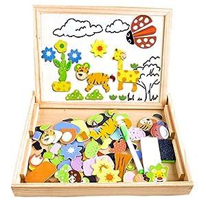 COOLJOY Puzzle Magnetico Legno, Giocattolo di Legno Bambini con Double Face Disegno cavalletto Lavagna, apprendimento… 1 spesavip