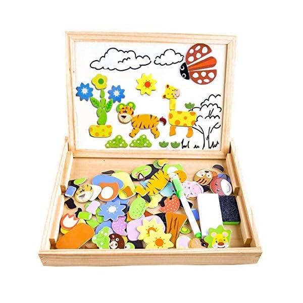 COOLJOY Puzzle Magnetico Legno, Giocattolo di Legno Bambini con Double Face Disegno cavalletto Lavagna, apprendimento educativo per Bambini (Nmodello Animale) 1 spesavip