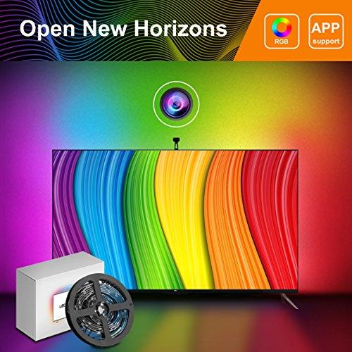 Foto de Tira LED TV con Cámara, Minger Lluminación de Retroiluminación LED TV, Flexible 5050 RGB, Tres modos (Video, Música, Personalizado), Control de APP
