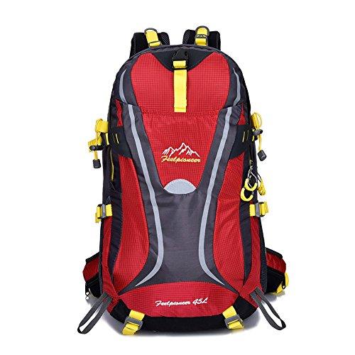 sfeibo 45L Nylon Wasserdicht Big Rucksäcke Outdoor Camping Klettern Wandern Reise Taschen rot - rot