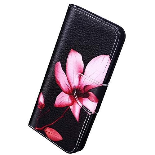 Herbests Kompatibel mit Samsung Galaxy Note 10 Plus Lederhülle Luxus Handyhülle Bunt Muster Ledertasche Bookstyle Klapphülle Wallet Flip Case Cover Schutzhülle Magnetverschluss,Rot Lotus Blumen
