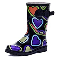 SPYLOVEBUY Kids Girls Boys Flat Festival Wellies Rain Boots Black Heart Kids Sz 10