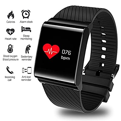 Fitness Tracker,Smart Bracelet Activity Tracker Blood Pressure Heart Rate Monitor Outdoor Sports Fitness Watch Large Screen Smartwatch Wristband Bluetooth Pedometer with Sleep Monitor Men Woman Kids by LIGE