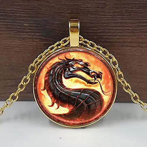 Drachen Halsketten Mortal Kombat Anhänger Glas Kuppel Schmuck Halskette Anhänger