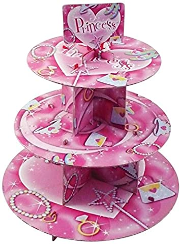 PRINCESS CUPCAKE STAND 3 TIER & 32 NAPKINS GIRLS PARTY CAKE BIRTHDAY TEA FETE DECORATION FREE DELIVERY