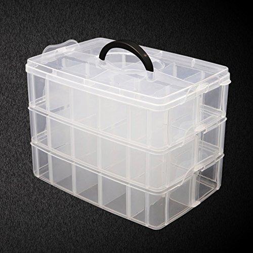 3-stöckige Aufbewahrungsbox aus durchsichtigem Kunststoff, stapelbar von Kurtzy - für die Organisation von Nähfäden, Spulen, Perlen, Beautyzubehör, Nagellack, Schmuck, Kunst- & Handwerkzubehör - 30 Fächer (Organizer-tool-box)