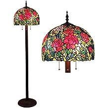 16 pollici pastorale Rosa Antico di lusso Tiffany di stile a mano in vetro Lampada da terra Soggiorno decorazione della luce