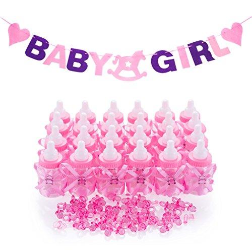 QILICZ 24 Flaschen Geschenk Box Baby-Süßigkeit Baby Candy Junge Box Flasche + 50 Mini Dekoschnuller + BABY Gril Girlande Banner für Jungen Shower Babydusche Party Taufe Geschenkpaket Babyparty