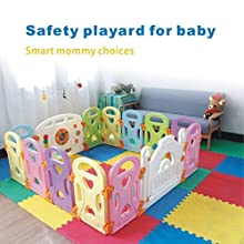 Baby Playpen Kids Activity Centre Safety Play Yard Baby Fence Play Area Baby Gate Home Indoor Outdoor New Pen (Multicolour, Classic Set 14 Panel) (Love 14panels)