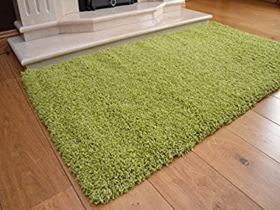 Soft Touch Shaggy Green Thick Luxurious Soft 5cm Dense Pile Rug. Available in 7 Sizes - low-cost UK light shop.