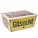 com-four® große Aufbewahrungsbox Garage mit Deckel im Retro Vintage Shabby Design, 40 x 30 x 17 cm (01 Stück - Garage)