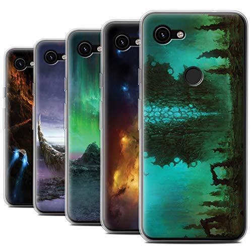 Gel Case Pack (Chris Cold Offiziell Hülle/Gel TPU Case für Google Pixel 3a XL/Pack 12pcs Muster/Fremden Welt Kosmos Kollektion)