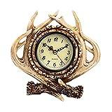 non-brand Sharplace Design Retro Wecker Uhr Reisewecker Quarzwecker Tischuhr Geweih Nostalgie