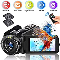 "Video Camera Camcorder DIWUER 2020 Upgraded FHD 1080P 30MP Vlogging Camera For YouTube 18X Digital Zoom 3.0"" LCD 270 Degree Flip Screen With 2 Batteries"
