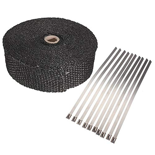 DERNON Roll Fiberglass Exhaust Header Pipe Heat Wrap Insulation Shield Tape + Ties Black