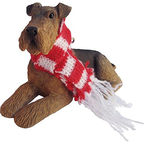Sandicast Airedale Terrier, liegende Skulptur, braun, Ornament -