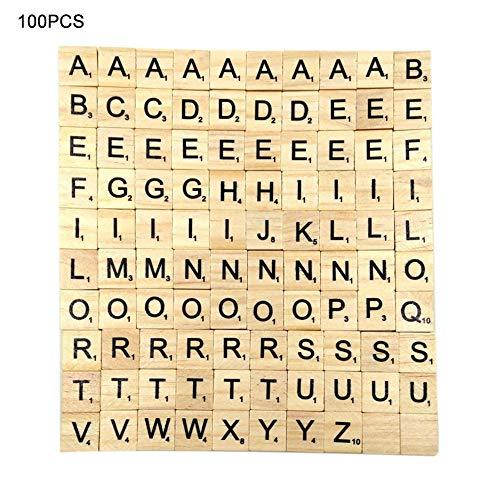 Alfabeto Inglés 26 Letras del Rompecabezas Bloques de Madera Niños Juego de Carta de Educación Temprana Bloques de Madera Chips 100 UNIDS