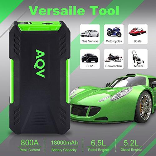 AQV-18000mAh-800A-Jump-Starter-Avviatore-Di-Emergenza-Torcia-LED-di-EmergenzaSchermo-LCD-Doppia-Porta-USB-Caricabatterie-Portatile-Batteria-Perfetto-per-52L-i-motori-diesel-o-65L-benzinaNeroVerde