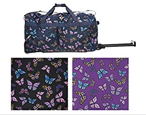 5 CITIES 27 inch Wheeled Holdall Trolley Bag Butterflies Black Plum