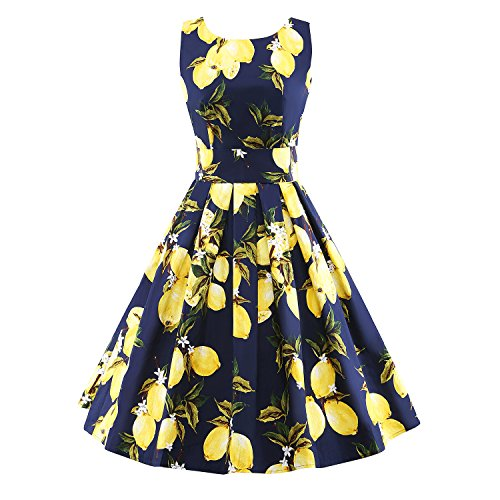 iLover-Classic-Womens-Retro-Vintage-50s-Ball-Gown-Pinup-Lemon-Rockabilly-Party-Dress