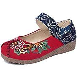 DEED Zapato de Mujer Embarazada de Bordado de Viento de Lady Shoes National Shoes,37 EU,Rojo