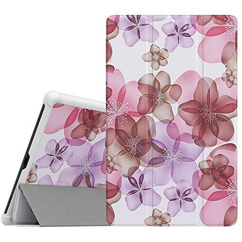 Dadanism Hülle Ersatz für Galaxy Tab A 10.1 SM-T510 SM-T515 2019, Leicht Schutzhülle mit Standfunktion PU Leder Tablet Cover Ständer Kompatibel mit Galaxy Tab A 10.1 Inch - Blumen Violett