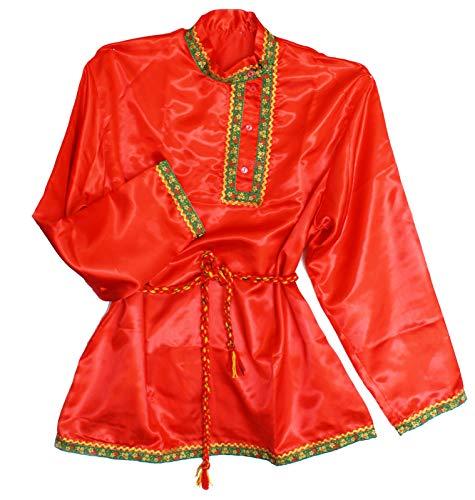 Russische Männer Kostüm - Russisches Hemd Kosakenhemd Satinstoff glänzend in Rot Größe M
