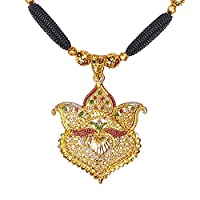 Bodha Traditional Indian Handcrafted 22K Gold Plated Designer Fancy Mangalsutra Thushi mala Necklace Pendant Set For Women (SJ_2821)
