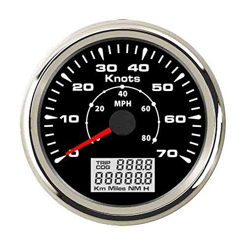 ELING Wasserdicht Marine GPS Tacho Kilometerzähler 0-70Knoten 0-80MPH Speed Gauge mit 8verschiedenen Hintergrundbeleuchtung 85mm - 70 Gps