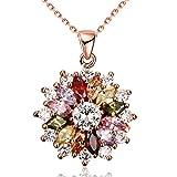 Yazilind Bijoux Brillant Mode Couleur Zirconium Fleur Forme Rose Or Pendentif Pendentif Collier pour Femmes Filles