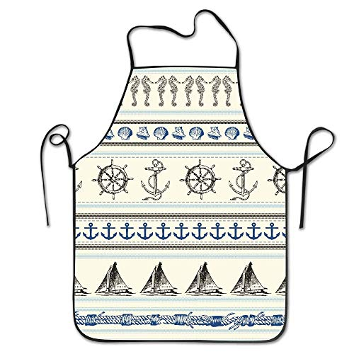 Stripe Nautical Achor Wheel Sailboat Aprons Bib Mens Womens Lace Adjustable Polyester Chef Cooking Long Full Küchenschürzen Christmas Free Cell